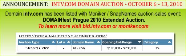 intv.com domain auction announcement